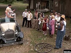 outdoor group sex gang bang scene. They love sex so much they do it outside where anyone could see and they are all dressed in serious 1920s costumes for Bonny and Clide by Bluebird Films.