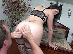 Slutty Bobbi Star is eager to have her ways with a succulent appetizing dick. This bitch looks very attractive, wearing high heels and kinky fishnet stockings. Click to watch the busty brunette milf, sucking cock and riding it!