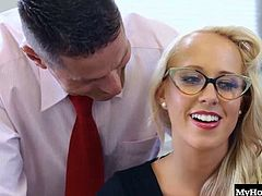Carla Cox is a glasses wearing, nerdy teacher, that gets screwed by a group of her fellow teachers. Once her panties come, off youll find a stiff dick entering her completely shaved snatch. Next, another dick penetrates her asshole, making this a gangbang with a DP and several blowjobs and handjobs for facials
