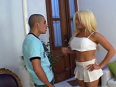 blonde tranny gets fucked in her salon @ miss transsexual universe #04