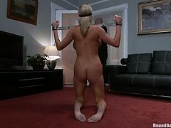 Naughty Zoe seems eager to fulfill her husband's kinky fantasies... This time, he invited his friends to come along and play with the luscious blonde. Click to watch the naked bonded bitch, terribly used, while being blindfolded. See her sucking dicks with fervor!