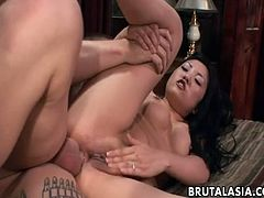 Petite Asian babe Mika Tan gets her butt hole stretched in hardcore anal pounding action