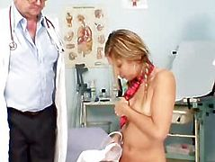 Hot student Rachel Evans takes doctor cock in her mounth