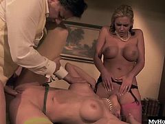 The two girls seduce a guy. They make out with him and suck his dick before taking turns getting pounded. Phoenix licks Natalies pussy while she gets fucked, and then the two lesbians have a little love fest of their own.