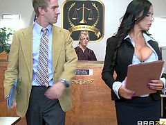 This hot scenario takes place in a courtroom, under the regards of a judge... Nikki, the brunette milf, succeeds in seducing a horny guy, who remains mesmerized by her perfectly-shaped big boobs. See him rimming ass with passion and unzipping his pants impatiently. Stay tuned for the spicy details!