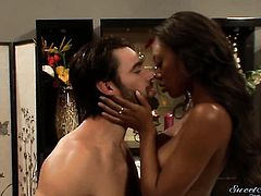 Charles Dera stretches cute Evanni Soleis mouth with his thick love stick to the limit