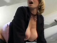 Irresistible French blonde MILF in stockings gets fucked