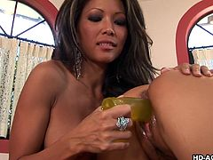 Hot Asian sluts Mya and Teanna, have no interest in men whatsoever. That's why when these whores see each other, they start ripping clothes off each other's bodies. Mya fingers Teanna's tight pussy and licks it really hard. She then shoves a big dildo inside her hot vagina and tries to make her cum.