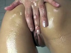 Sunny Leone Oily Bathroom Masturbation