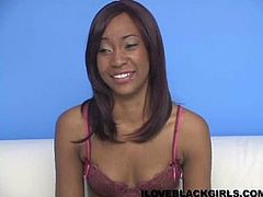 Magnificent ebony cowgirl shows off her shaved coochie close up