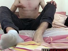 Blonde twink loves to suck toe rub foot and wank uncut dick