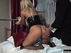 She loves getting her shaved little 21 year old butthole teased by not one but two hard fingers of her male master.