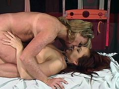 Chubby lesbian sex slave with nice big tits getting her pussy fingered