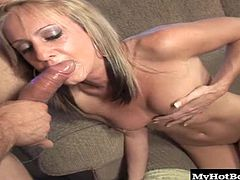 Shes in the mood to get face fucked tonight and she bends over to take Coreys giant pole all the way down her open throat. Corey fucks her face hard making her gag and cough and drip liquid down her face, messing up her makeup. When Corey is good and ready, he blasts her face with cum.