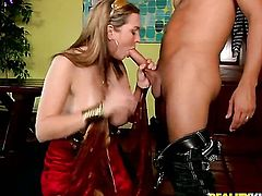 Blonde Cassandra Calogera with clean twat gets wildly fucked in her mouth by Voodoo