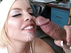 Blonde is cumshot in the mouth