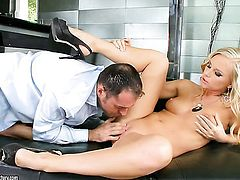 Blonde Barbie White enjoys the warmth of mans stiff schlong deep down her throat