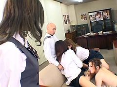 About five women in the office were up for promotion and the boss had no idea, whom to promote. He organizes a dick-sucking competition and the winner will take it all. He had five women coming at him with their mouth open and no clothes on. They were ready to deepthroat and even get fucked for a promotion.