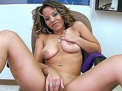 Jasmine Cashmere is a brunette babe thats getting ready to suck on that big dick by fingering her pussy. Shes going to have a really intense orgasm just by fingering