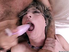 Honey Demon shows her cock sucking talents in blowjob action with Rocco Siffredi before back swing fucking