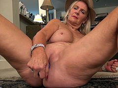 Daisy may be old, but her sex drive is still very high. This old chick is horny every day, and if she can't get dick, then her own hands and toys will just have to do. She's not shy about spreading her legs, to show her pussy to the camera. She rubs, fingers and vibe-fucks herself, until she cums.