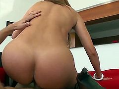 Monique Fuentes is a hot brunette milf that is giving a blow job. She has large tits with pointy nipples and we also see her getting a tit fuck here.