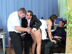 Office gangbang with the newly hired whore they all use
