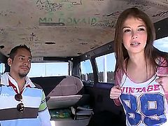 Brunette Tiffany D.Gore is a cutie! Naughty girl takes off her blue jeans and shows her neat pussy after playing with guys meaty cock on Bang Bus. He cant wait to give her tight vagina a try.