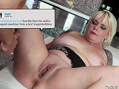 Luscious Missy Monroe is eager to play dirty games with her horny partner. See the tattooed blonde milf, sucking dick on her knees, then spreading her legs wide. This busty bitch seems to never get enough as she has a big appetite for hardcore activities. Have fun watching this hot scene!