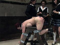 Things are getting pretty kinky in the basement of this girls' school. These three lovelies have their classmate naked, duct taped to a wooden sawbuck, and are spanking her with their hands as well as books. Next, they get the electrodes out to shock her red, stinging ass along with fingering her.