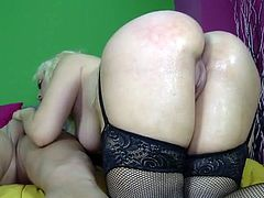 Hardcore sex in fishnets with a fat ass babe