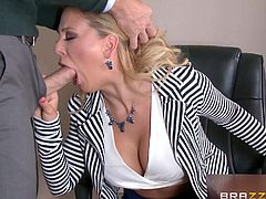 Slutty Cherie is eager to show the first employee who gets in her office, which color are the sexy bikini she's wearing... Click to watch this hot blonde-haired milf, hitting at a colleague from work. So far, sucking cock makes the best of her day. See how she has even more fun, after exposing her cunt.