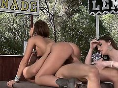 Pretty girls Giselle Leon and Jennifer White  shows their love for pussy drilling as they share a cock in the shadow in outdoor threesome. Lucky guy gets his stiff dick shared by two slutty girls that cant get enough.
