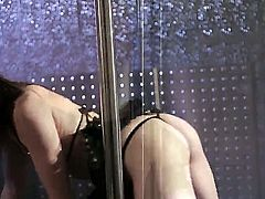 Sarah Shevon is a tight minx that is on a stripper pole. She is doing a strip tease as the camera is rolling. See her making all sorts of sexy moves.