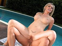 Blonde Tanya Tate makes man happy by eating his meat stick