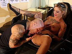 Inked babe is willing to fuck a dude for more tattoos
