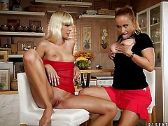 Blonde Katy Parker with gigantic melons gets her bush eaten out by Tracy Gold