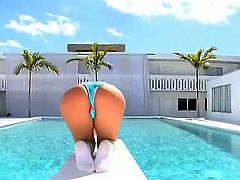 Mariah Milano is a lovely solo girl that is shaking her ass by the pool. She has the camera move in close to film her in great detail. Her tits are all natural.