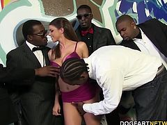 We bent the busty slut over and gave it to her in the same manner the white devil has been giving it to us, hard! We kept fucking the busty beauty and one of my crew even blew his load in that pussy...