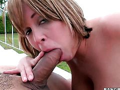 Blonde lets guy stick his meaty pole in her mouth