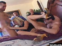 Tabitha will be enjoying a hardcore, MMMF foursome, with one man screwing her tight asshole, while another guy is fucking her partially shaved snapper and the third man is getting a deepthroat blowjob, during this triple penetration, that comes to an end with her getting two creampies and a facial.