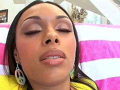 Bethany Benz is a pretty ebony lady with a fine firm ass. She is having her ass and pussy licked and worshiped in this interracial video and her big naturals are jiggling.