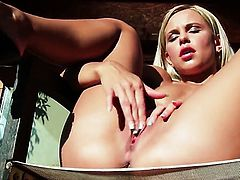 Super sexy woman Lola Myluv with tiny boobs and clean snatch does her best to make your cock harder in solo action