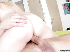 Ashley Stone massages guys worm so that he moans and groans