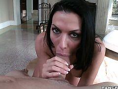 Rachel Starr is good on her way to satisfy her bang buddy with her hot mouth