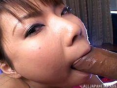 Her man slaps his bog cock all over this Japanese slut's wet tits, before she wraps her hot lips around his throbbing penis. The boyfriend shoots his cum all over her lips and into her mouth. She loves the taste of cum, but she loves playing with the sperm, too. Watch as it drips onto her hands.