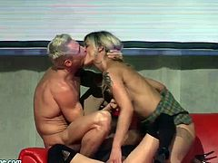extreme wild threesome fuck on public sex show stage