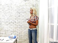 Bridgette B with phat bottom strokes the sperm out of mans cum loaded love wand