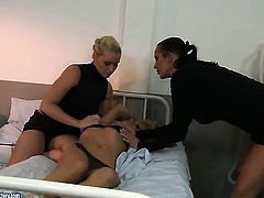 Blonde Safira White with big melons and Kathia Nobili have a good time touching each others bush