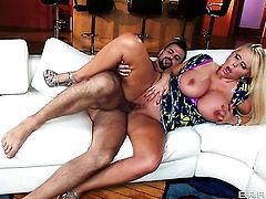 Voodoo uses his rock solid pole to bring Glammed up breathtaker Karen Fisher to the height of pleasure